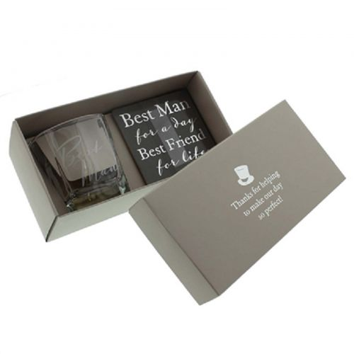 WEDDING GIFT BEST MAN WHISKY GLASS & COASTER