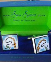 Bone China Fishing Reel Cufflinks from the Sonia Spencer range.