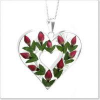 Rose Bud Double Heart Pendant
